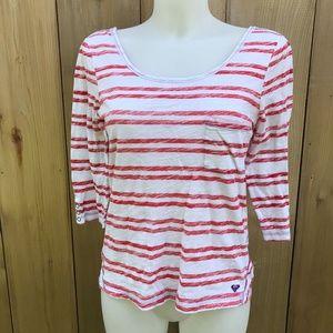 Roxy white/red striped top size medium